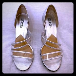 US 7 Silver Metallic Michael Kors Heels